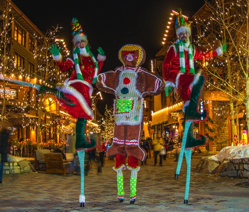 Gingerbread and Elves on Candy-Cane Stilts