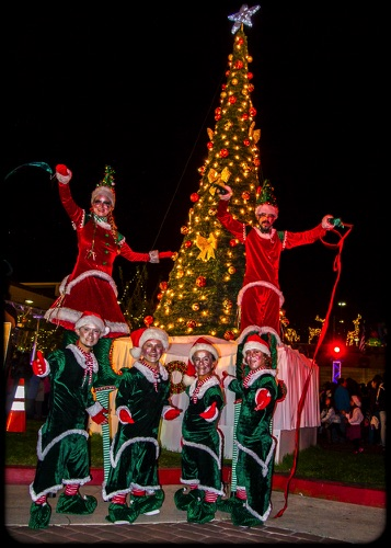 Tree of Gold Elves in a Row  Hawaiian Gardens Tree Lighting