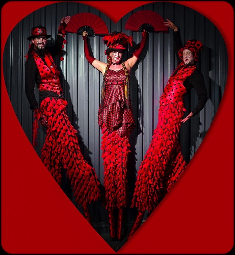 Stilt Circus Valentines Day Hello Red & Black Triple Stilt Heart
